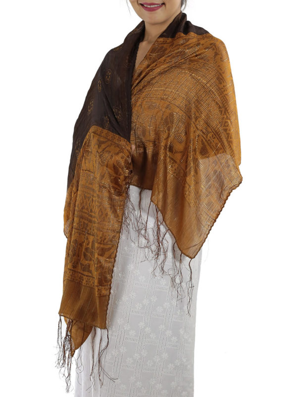 Brown Silk Shawl