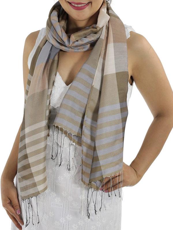brown plaid scarves