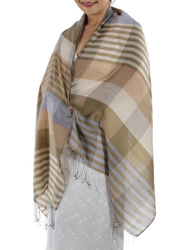 brown plaid shawl