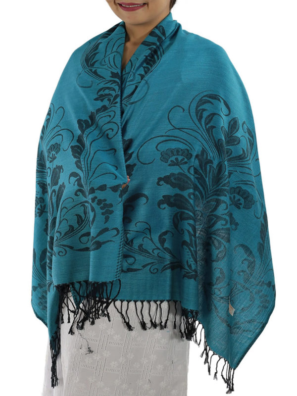 buy aqua blue pashmina shawl