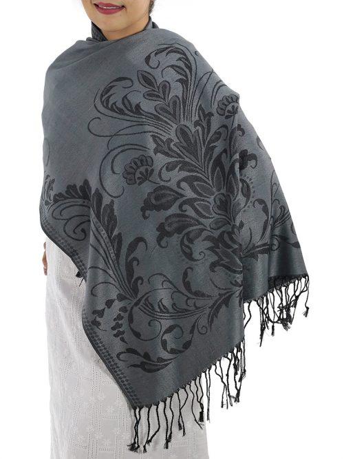 buy grey pashmina scarves
