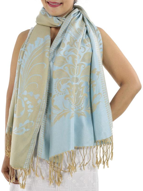 buy silver blue pashmina wrap