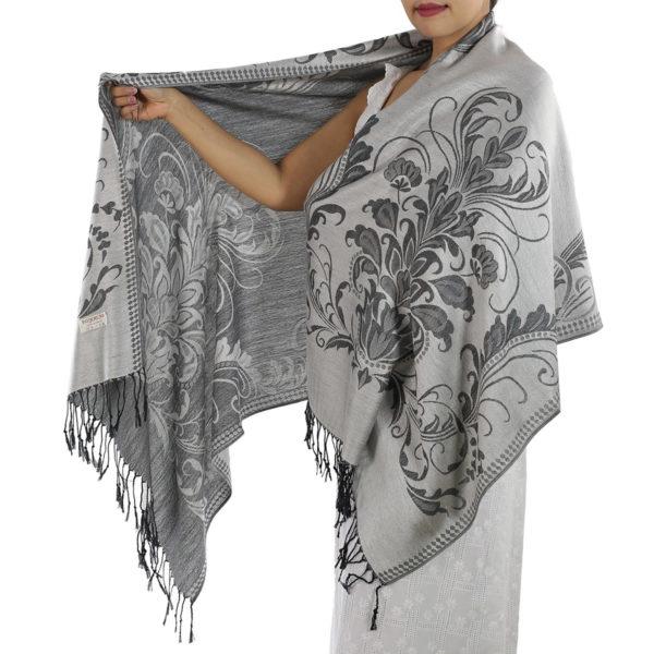 buy silver pashmina scarf