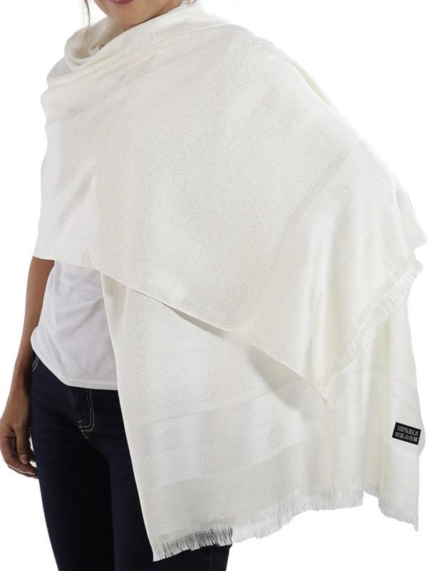 buy white silk scarves