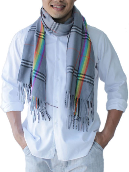 mens grey scarf
