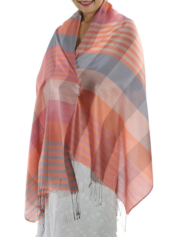 orange plaid shawl