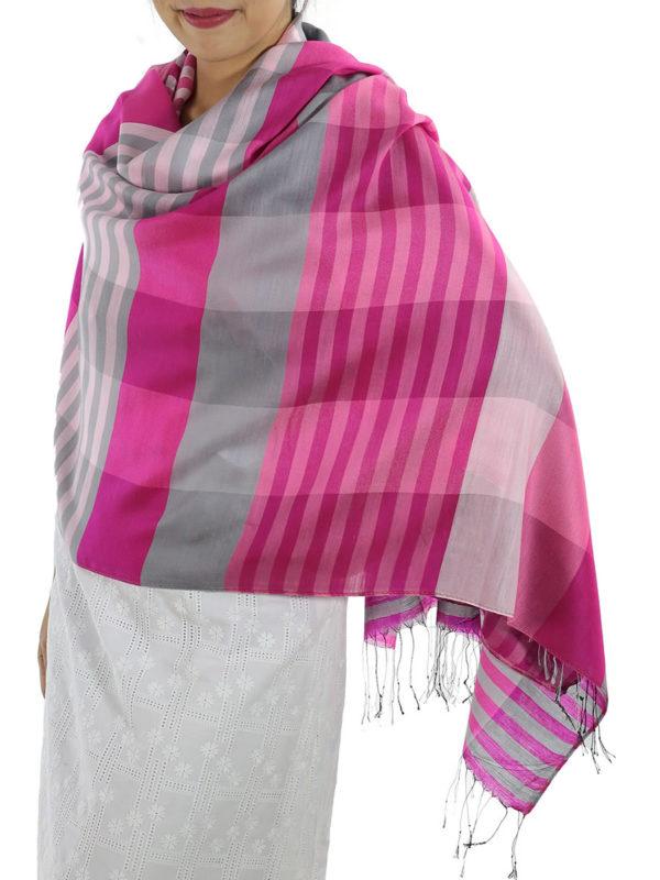 pink plaid wrap