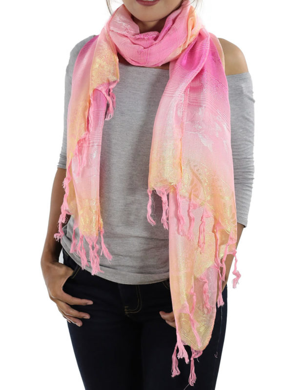 pink scarves from thailand