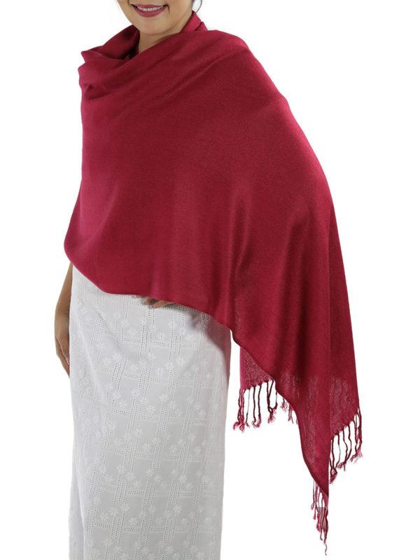 red pashmina wrap