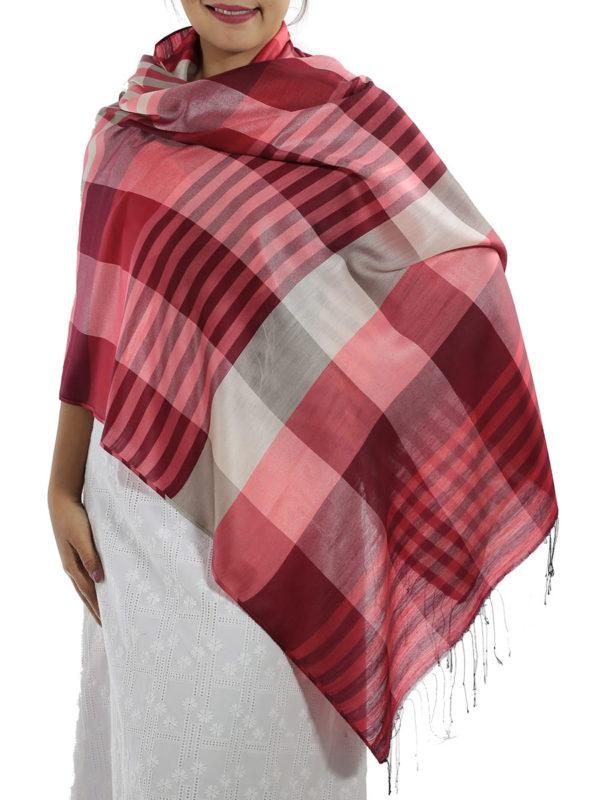 red plaid wrap