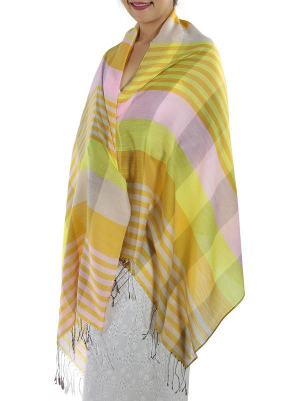 yellow plaid shawl