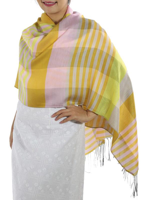 yellow plaid wrap